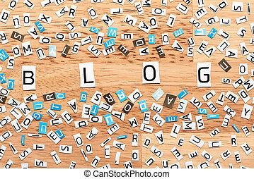 blog, wort, von, ausschneiden, briefe