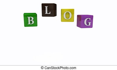 Blog writing on colored rotating cubes.