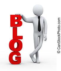 blog, zakenman, presentatie, woord, 3d
