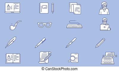 blogger, écrivain, ensemble, lieu travail, icône