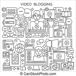 Blogger and blogging thin line vector concept.