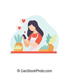 blogger, aquilo, falando, vídeo, houseplants, femininas, menina, criando, dela, conceito, jovem, mídia, conteúdo, online, passatempo, canal, mulher, postando, ilustração, aproximadamente, vetorial, social, flâmula