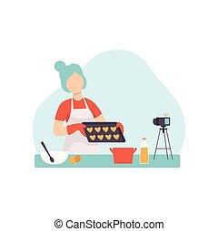 blogger, aquilo, vídeo, flâmula, menina, criando, dela, mídia, cozinhar, jovem, conteúdo, passatempo, mulher, postando, alimento, ilustração, cozinha, aproximadamente, gravando, vetorial, câmera, social