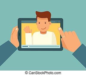 blogger, conceito, vídeo