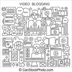 blogger, concept., vetorial, linha magra, blogging
