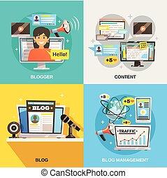 blogger, conception, concept, carrée