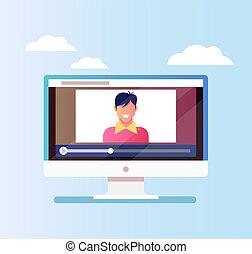 blogger, desenho, sorrindo, tutorial, monitor, discussão, personagem, isolado, blog, pc, seguidores, online, ícone, feliz, apartamento, ilustração, internet., caricatura, homem, gráfico, vetorial, concept.