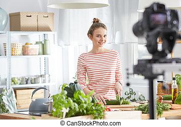 blogger, fazendo um vídeo