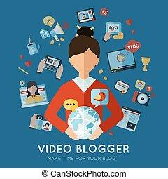 Blogger Flat Illustration