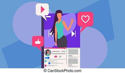 blogger, flusso, discussione, linea, contenuto, user., flusso continuo, sociale, vettore, revisione, comunicazione, smartphone, donna telefono, blog, mobile, video, illustrazione, vivere, vlog, network., internet., come, discorso, concetto