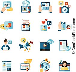 Social media web blogger flat icons set isolated vector illustration