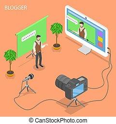 blogger, isometric, vetorial, concept., apartamento