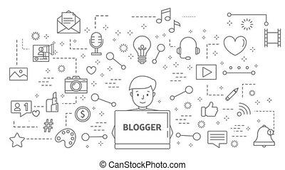 blogger, ligne, animation.