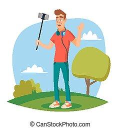 blogger, modernos, personagem, ilustração, gravando, vlog., vídeo, blog, vector., tiros, video., caricatura