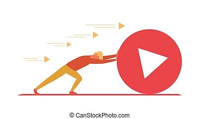 Video blogger pushes big play button. Social media, social marketing concept. Vlogger as sisyphus rolling play button. Vector illustration