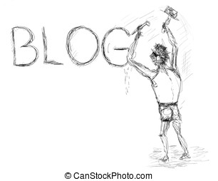 Blogger - Rough drawing with character who writes a blog on...