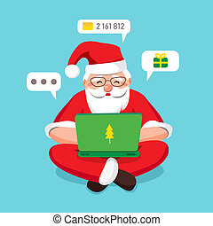 Blogger Santa Claus carefully answers incoming letters and gift wishes in a laptop and sits cross-leggedly relaxed on blue background isolated. Around minimal chat bubbles. illustration