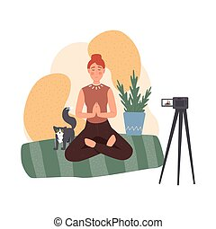 Blogger set. Various video blogger make review. Share content in the internet. Popular people streaming online. Blog about meditation and a healthy lifestyle. Vector illustration in cartoon style