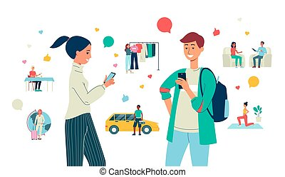 Bloggers creating content for social media flat vector illustration isolated.
