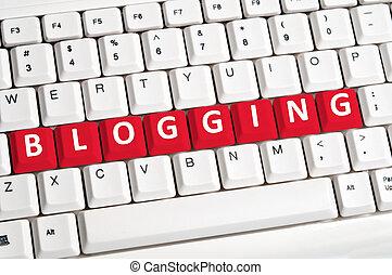 blogging, 낱말, 통하고 있는, 키보드