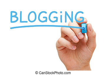 blogging, azul, marcador