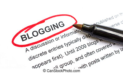 Blogging Concept - Blogging explanation with heading circled...