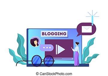 Blogging concept. Idea of social media and network. - ...