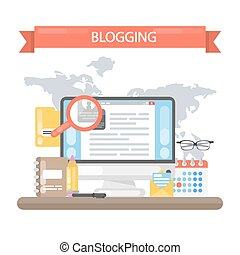 Blogging concept illustration. Idea of writing blog and...