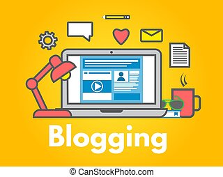 Blogging concept on yellow background. Laptop with icons. Social media sharing. Blog post flat line style. Business design. Trendy vector illustration