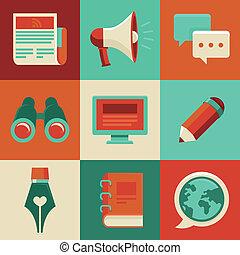 blogging, e, scrittura, -, vettore, appartamento, icone, e,...