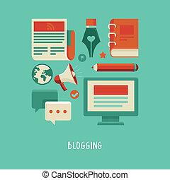 blogging, e, scrittura, -, vettore, appartamento, icone