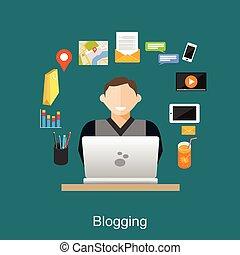 Blogging illustration concept. Blogger.