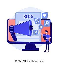 Blogging lifestyle vector concept metaphor - Blogging fun. ...