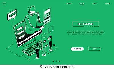 Blogging - line design style isometric web banner on green ...