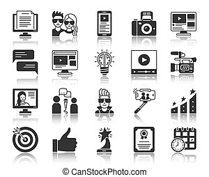 Blogging Online black silhouette icons vector set