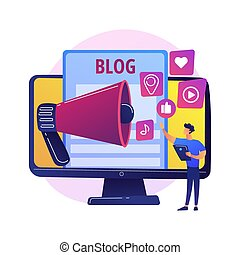 Blogging online vector concept metaphor - Blogging fun. ...