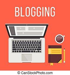 blogging., plano, concepto, ilustración