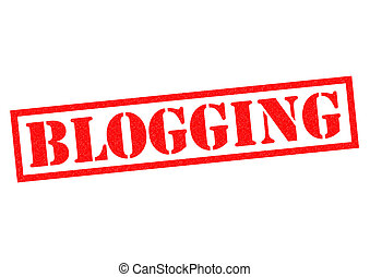 BLOGGING red Rubber Stamp over a white background.