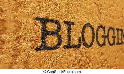 Blogging text on grunge background
