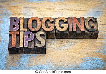 blogging tips in letterpress wood type