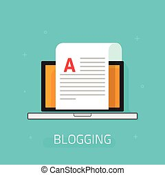 Blogging vector icon isolated on blue background, laptop...