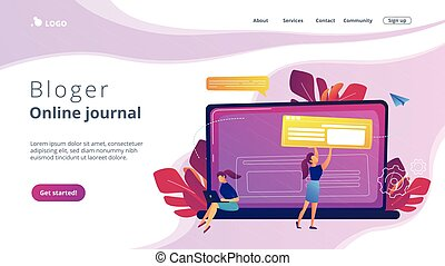 Bloging concept landing page. - A girl makes a post on big ...