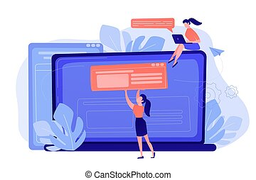 Bloging concept vector illustration. - A girl makes a post ...