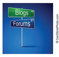 blogs, フォーラム, 方向, 道, 印。