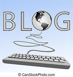 blogs, computadora, occidental, teclado, tierra, blogging, blogosphere