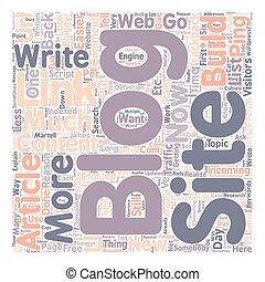 Blogs vs Content Sites text background wordcloud concept