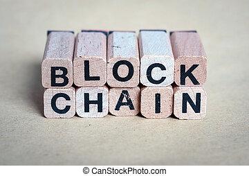 blok, ketting, concept, -, brieven, op, houten blokken