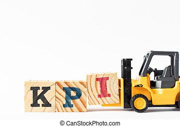 blok, witte , (abbreviation, klee, kpi, vorkheftruck, opvoering, indicator), brief, achtergrond, hout speelgoed, compleet, houden, woord