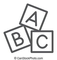 blokje, alfabet, achtergrond., speelbal, alfabet, meldingsbord, vector, model, grafiek, pictogram, lijn, witte , blok, lineair