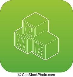 blokje, brieven, een, alfabet, vector, groene, pictogram